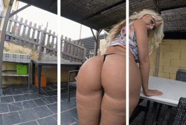 Big blonde Bubble-Butt in 3D