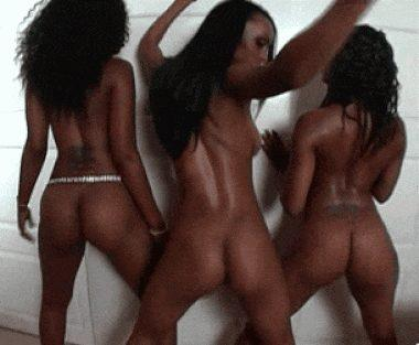 Three ebony asses