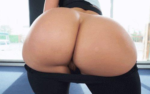 Butt naked yoga stretching