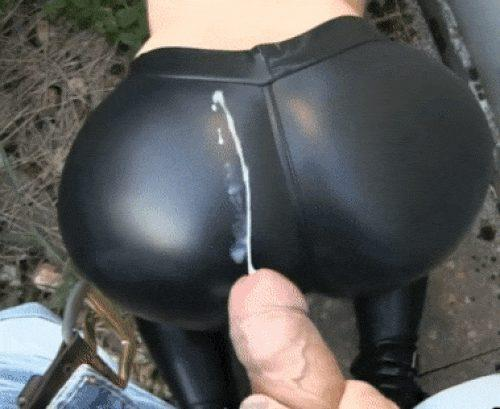 Cumming on her Leather Leggings