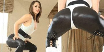 Doing squats in tight Leather Pants